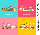 happy easter greeting set. flat ... | Shutterstock .eps vector #580130158