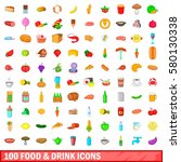 100 food and drink icons set in ... | Shutterstock .eps vector #580130338