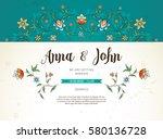 vector vintage wedding... | Shutterstock .eps vector #580136728