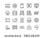 hosting. set of outline vector... | Shutterstock .eps vector #580138339