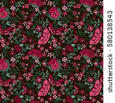 embroidery seamless pattern... | Shutterstock .eps vector #580138543