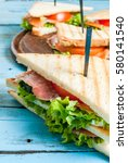 club sandwiches with fresh... | Shutterstock . vector #580141540