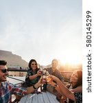 Happy Young People Celebrating Drinks - Fine Art prints