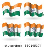 india flag waving set | Shutterstock .eps vector #580145374