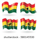 ghana flag waving set | Shutterstock .eps vector #580145530