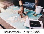 tourist planning vacation with... | Shutterstock . vector #580146556