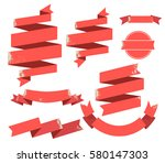 vintage red flat ribbons banner ... | Shutterstock .eps vector #580147303