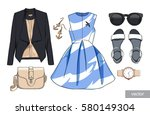 lady fashion set of spring... | Shutterstock .eps vector #580149304