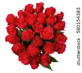 Stock photo bouquet of flowers fresh red roses isolated on white background top view 580154383