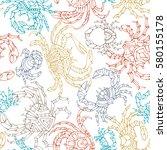 vector seamless crabs pattern.... | Shutterstock .eps vector #580155178