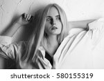 sensual sad blond girl looking... | Shutterstock . vector #580155319