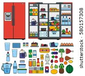 refrigerator collection vector... | Shutterstock .eps vector #580157308