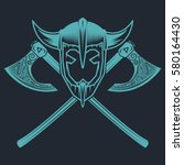 viking helmet with crossed axes.... | Shutterstock .eps vector #580164430