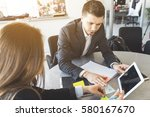 conflict in office. man and...   Shutterstock . vector #580167670