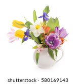 Stock photo spring flowers isolated on a white background 580169143
