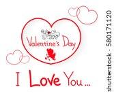 happy valentine s day | Shutterstock .eps vector #580171120