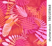 tropical leaves of palm tree.... | Shutterstock .eps vector #580185868