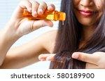 oil hair treatment for woman   Shutterstock . vector #580189900