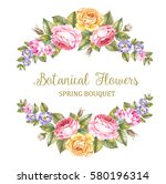 vintage garland of blooming... | Shutterstock . vector #580196314