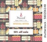 discount in 8 march. sales in... | Shutterstock .eps vector #580206148