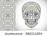 day of the dead sugar skull... | Shutterstock .eps vector #580211854