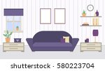 living room in purple colors.... | Shutterstock .eps vector #580223704