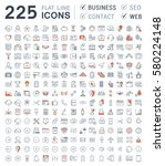 set  line icons in flat design... | Shutterstock . vector #580224148