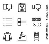 down vector icons. set of 9...
