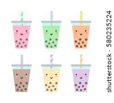 set of different cups with... | Shutterstock .eps vector #580235224