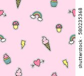 cute objects pattern with pink... | Shutterstock .eps vector #580235368