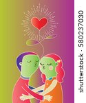 doodle lovers  a boy and a girl ... | Shutterstock .eps vector #580237030