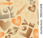 imprint female a kiss  hearts ... | Shutterstock .eps vector #580241608