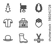 winter vector icons. set of 9... | Shutterstock .eps vector #580241728