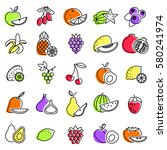 outline icon set fruits and... | Shutterstock .eps vector #580241974