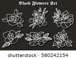 vector black flowers stickers... | Shutterstock .eps vector #580242154