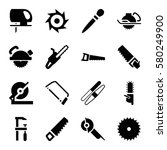 saw vector icons. set of 16 saw ...