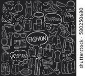 fashion chalkboard doodle... | Shutterstock .eps vector #580250680