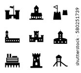 fortress vector icons. set of 9 ...   Shutterstock .eps vector #580251739