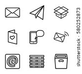 mail vector icons. set of 9... | Shutterstock .eps vector #580252873