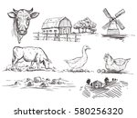 hand drawn illustration with... | Shutterstock .eps vector #580256320