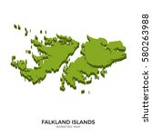 isometric map of falkland... | Shutterstock . vector #580263988