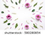 froral pattern on white table... | Shutterstock . vector #580280854