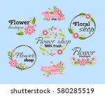 floral shop badge decorative... | Shutterstock .eps vector #580285519