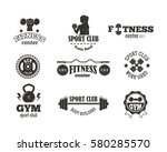 gym sport club fitness emblem... | Shutterstock .eps vector #580285570