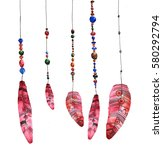 feathers  hanging on strings... | Shutterstock . vector #580292794