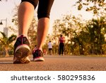 Close up shoe of runner feet...