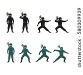 set of ninja character design... | Shutterstock .eps vector #580309939