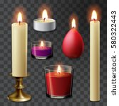 candle flame set realistic... | Shutterstock .eps vector #580322443