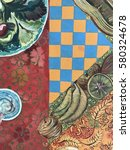 tropical batik pattern...   Shutterstock . vector #580324678
