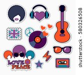 trendy color musical patches ... | Shutterstock .eps vector #580326508